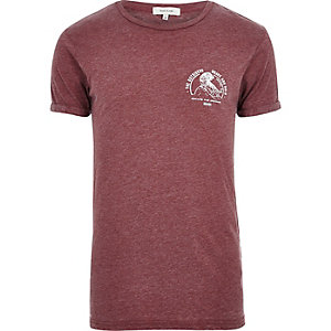 Dark red burnout print T-shirt