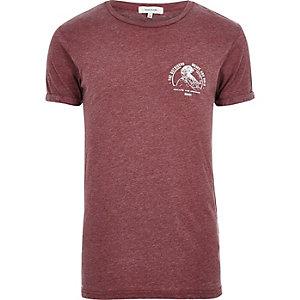 T-shirt rouge foncé imprimé effet burnout