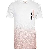 White faded pink print T-shirt