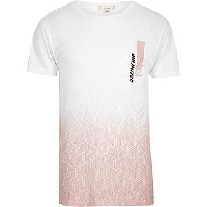 T-shirt blanc imprimé délavé