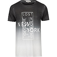 White faded NYC print T-shirt