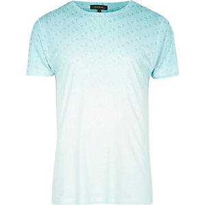 White faded blue print T-shirt