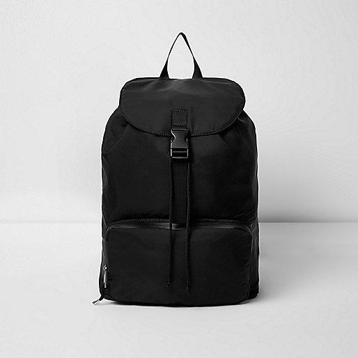 Black flap top backpack