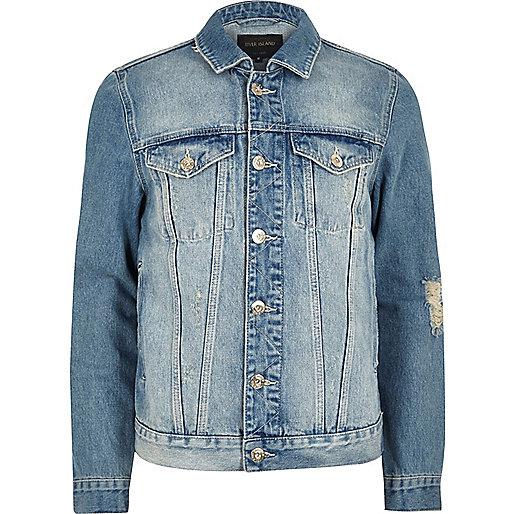 Light blue 'faded future' print denim jacket