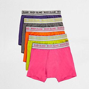 Multipack strakke boxers in paars en verschillende kleuren