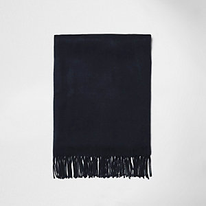 Écharpe en tissu gratté bleu marine à franges