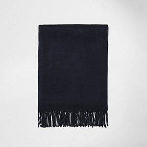 Marineblauwe opgeruwde sjaal met franje