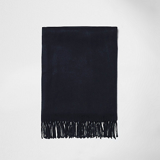 Navy brushed tassel scarf