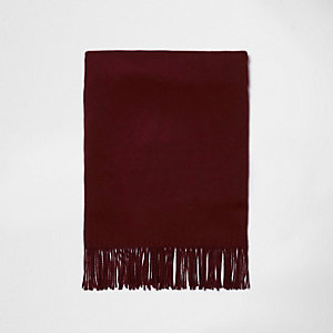 Dark red tassel brushed scarf