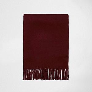 Écharpe en tissu gratté rouge foncé à franges