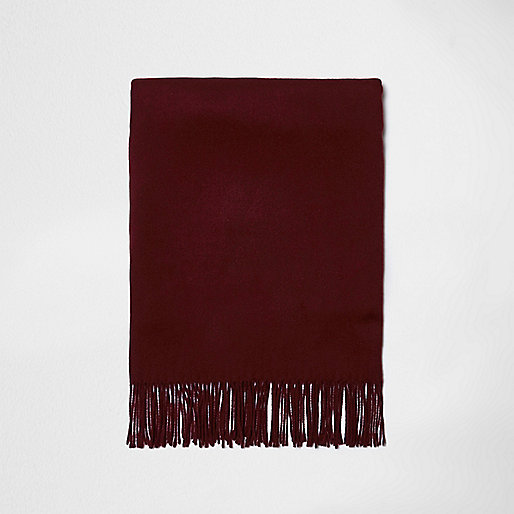Dark red tassel brushed scarf