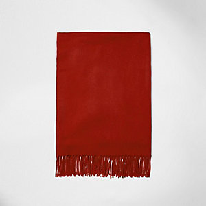Red tassel brushed scarf
