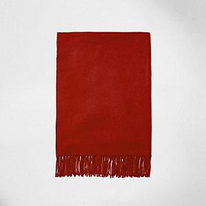 Rode opgeruwde sjaal met franje