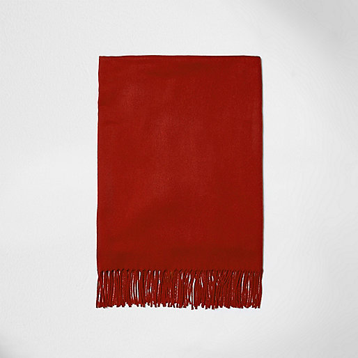 Red tassel brushed scarf