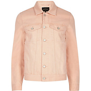 Big and Tall light pink denim jacket