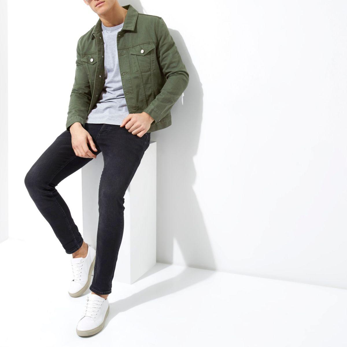Dark green denim jacket - Jackets - Coats & Jackets - men