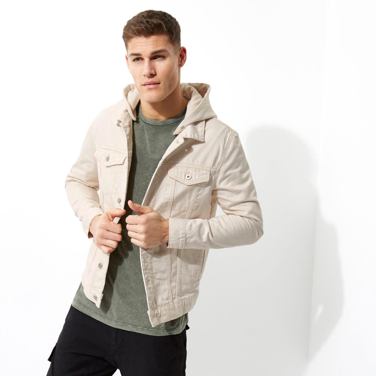 Stone jersey hooded denim jacket