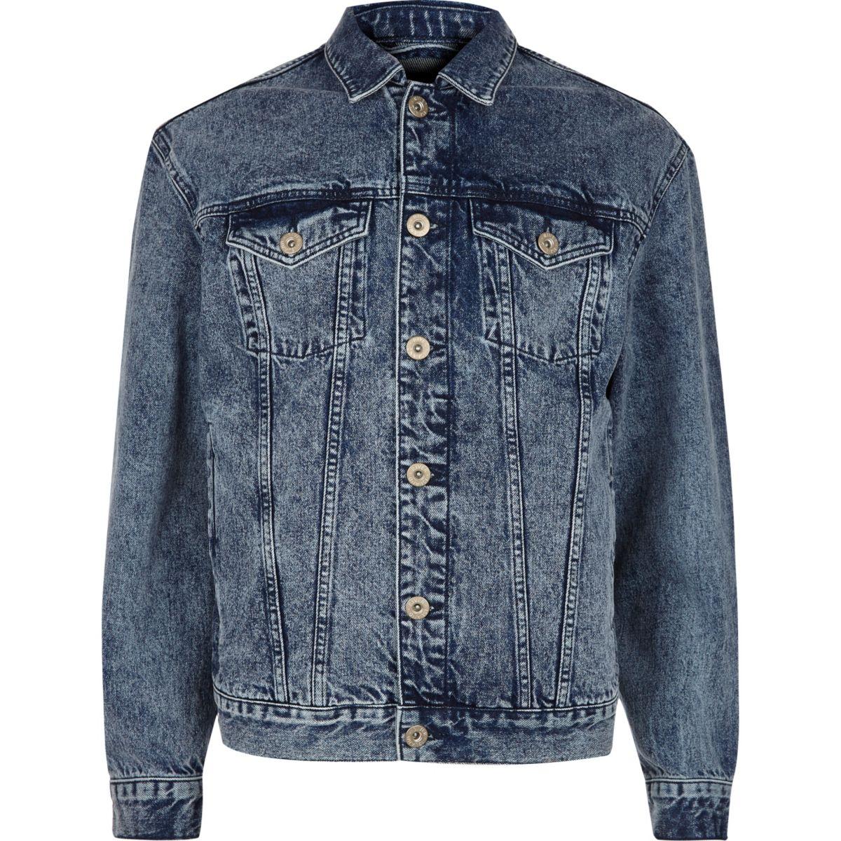 Blaue Oversized-Jeansjacke