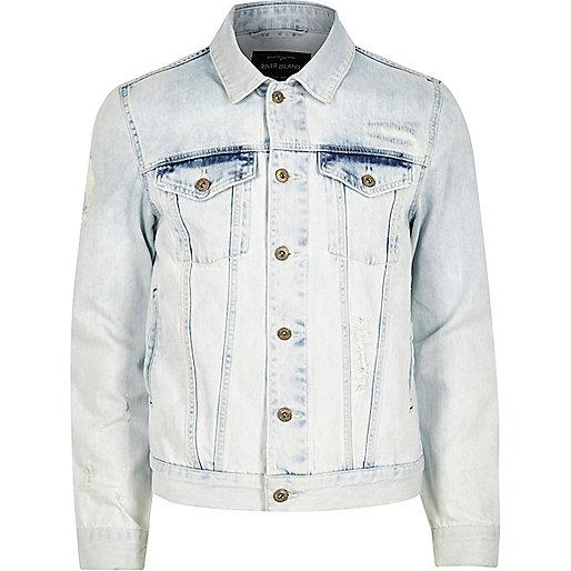 Light blue acid wash denim jacket