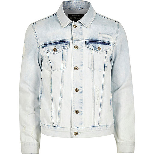 Lichtblauw acid wash denim jack