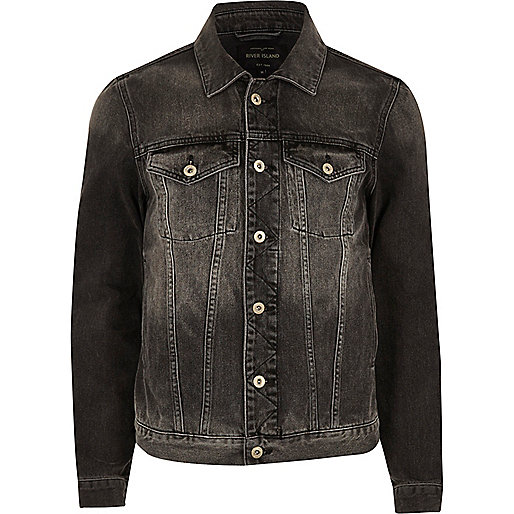 Black faded denim jacket