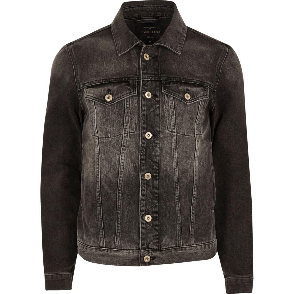Veste en jean noir délavé