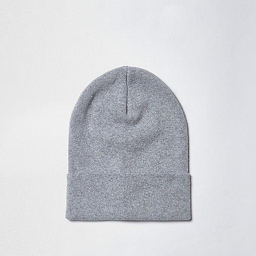 Grey fine knit slouchy beanie