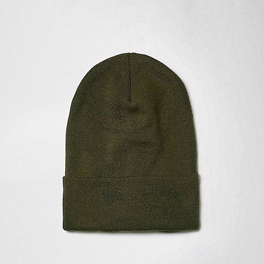 Green fine knit slouchy beanie