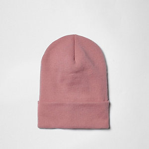 Pink fine knit slouchy beanie
