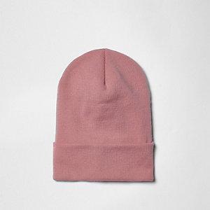 Roze fijngebreide ruimvallende beanie