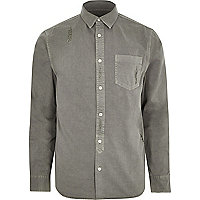 Big and Tall grey denim distressed shirt