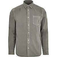 Big and Tall grey denim distressed shirt