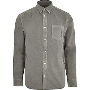 Chemise Big & Tall en jean usé grise