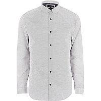 Big and Tall grey slim fit penny collar shirt