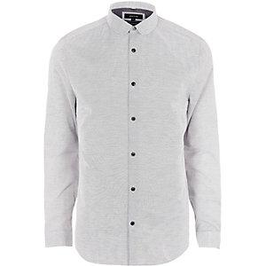 Big and Tall grey dobby penny collar shirt