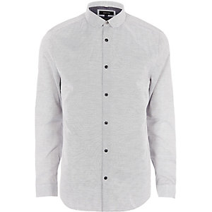 Big and Tall grey dobby penny collar shirt