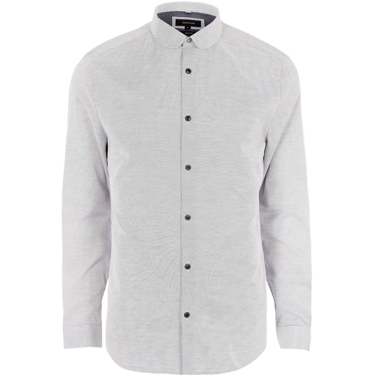 Big and Tall grey slim fit penny collar shirt