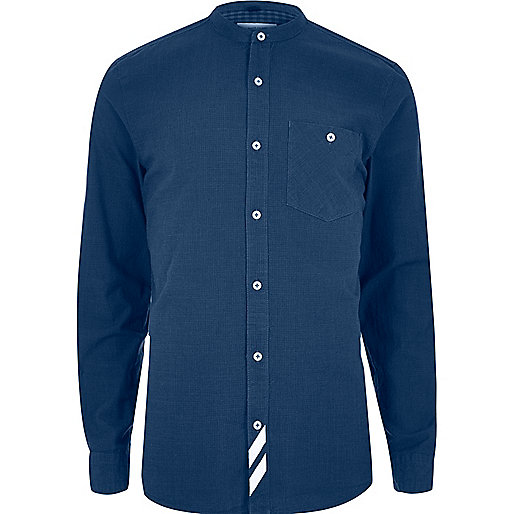 Blue stripe grandad casual shirt