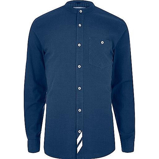 Blauw gestreept casual overhemd zonder kraag