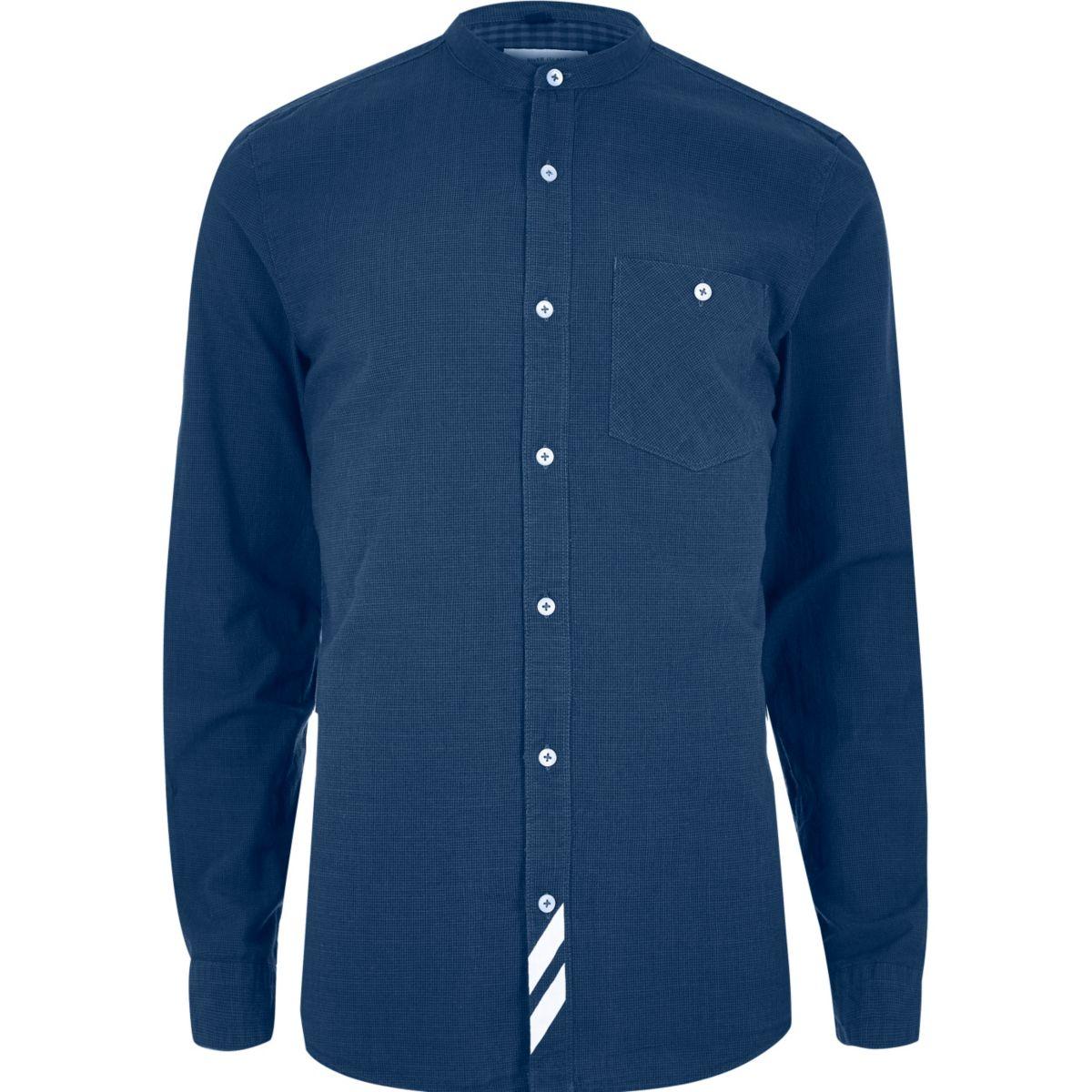 Blue stripe grandad casual shirt