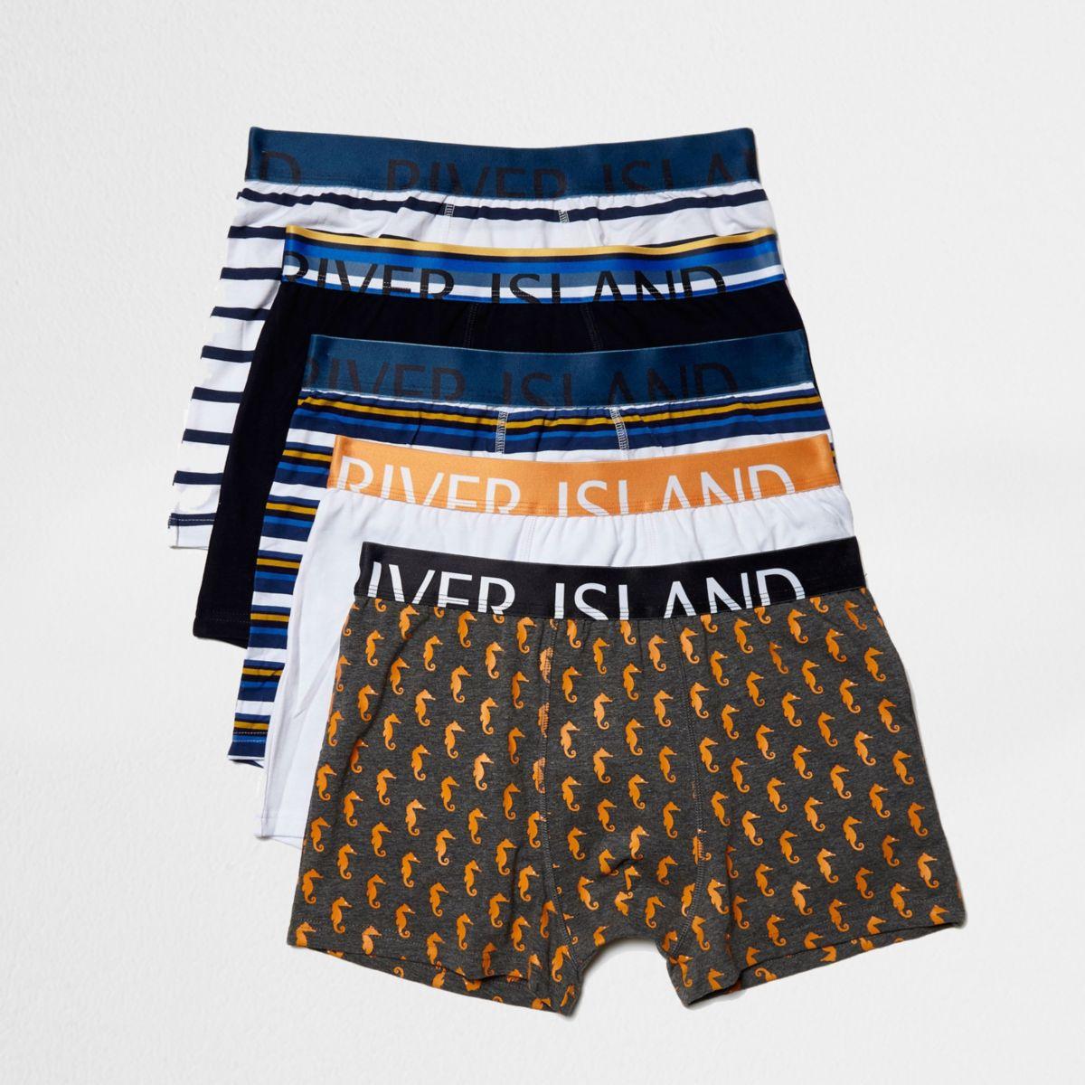 Lot de boxers bleus motif marin