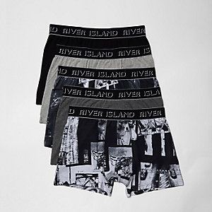 Grey photographic print boxers multipack