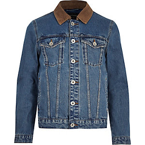 Blue corduroy collar denim jacket