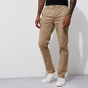 Lichtbruine skinny chinobroek van stretch