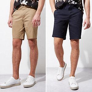 Chino-Shorts in Marineblau und Camel, Doppelpack
