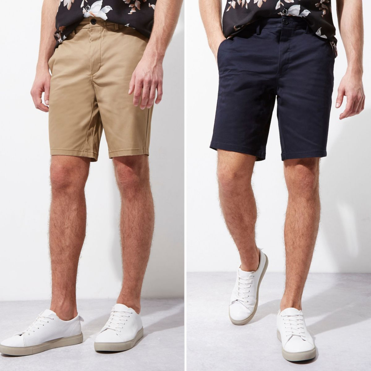 Navy and camel chino shorts two pack