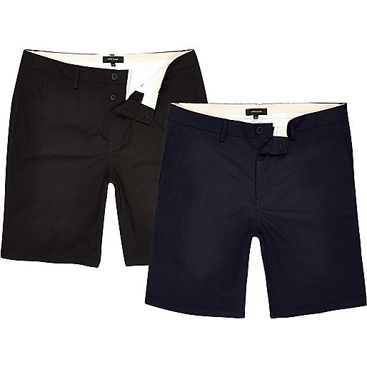 Navy and black chino shorts two pack