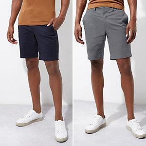Chino-Shorts in Marineblau und Grau, Doppelpack
