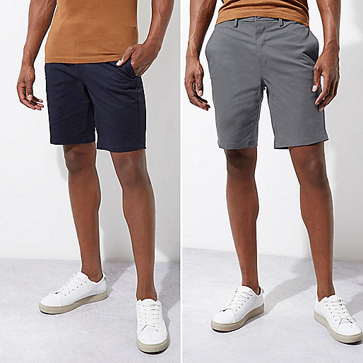 Navy and grey chino shorts two pack
