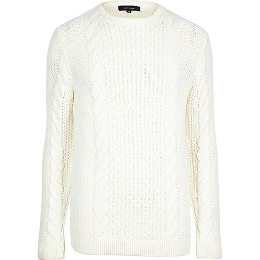 Cream cable knit crew neck jumper
